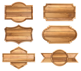 Set of wooden sign isolated on white background. vector illustration