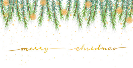 christmas pine leafs banner with golden calligraphy eps10 vector illustration