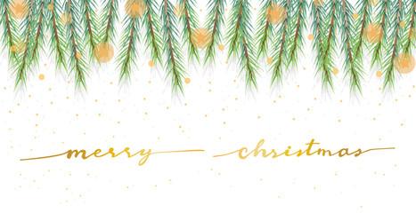 christmas pine leafs banner with golden calligraphy eps10 vector illustration Fotoväggar