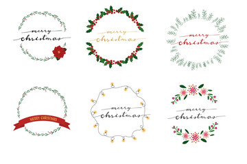 Christmas wreath frame with merry christmas calligraphy collection eps10 vector illustration