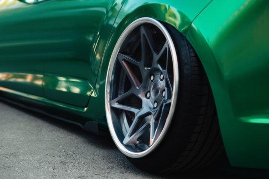 Lowrider custom stance stylish sports car closeup