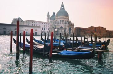 Santa Maria della salute church and gondolas, Venice Italy