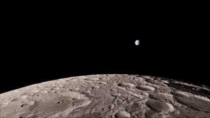3d render, Moon high resolution image, 4k in outer space, Surface. High quality.
