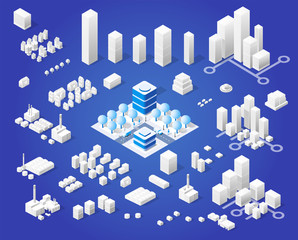 Isometric set module city