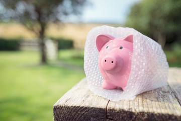 Piggy bank wrapped in bubble wrap, protecting your money