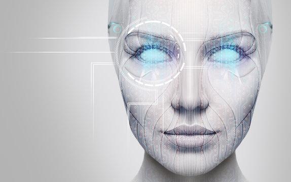 Beautiful cyborg female face with blue eyes.