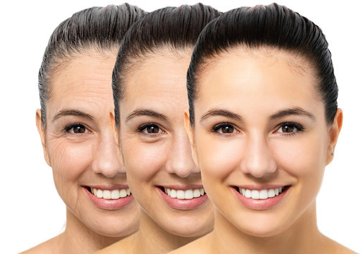 Conceptual skin aging on young woman.