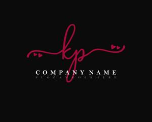 Obraz KP Initial handwriting, Feminine logo design template vector - fototapety do salonu