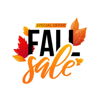 Autumn discount sale text isolated on white.