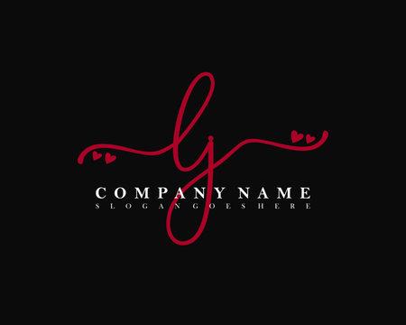 LJ Initial handwriting, Feminine logo design template vector