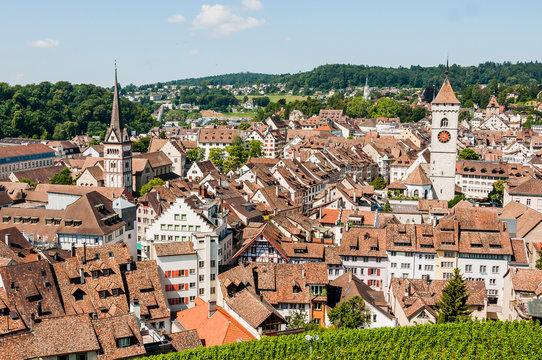 Schaffhausen, Altstadt, Altstadthäuser, Stadt, St. Johann, Münsterkirche, Weinberg, Munot, Rhein, Ostschweiz, Sommer, Schweiz