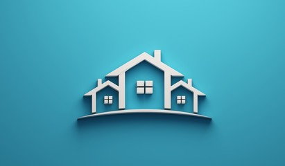 Real Estate Houses Logo Design in blue background . 3D Rendering Illustration