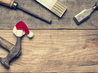 Carpenter tools with the hat of Santa