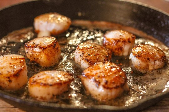 Selective Focus closeup of perfectly seared fresh sea scallops in butter and cracked pepper, sizzling on a cast iron skillet