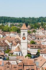 Schaffhausen, St. Johann, Kirche, Altstadt, Altstadthäuser, Munot, Stadt, Ostschweiz, Sommer, Schweiz
