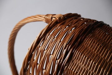 Wicker or wattle basket on a white background
