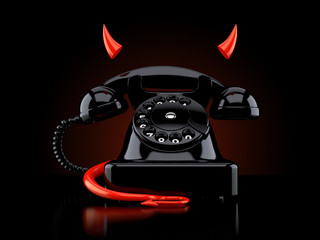 Telephone with devil horns and tail