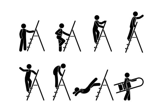 man with stepladder icons, isolated pictograms of people, stick figure human silhouette, set of illustrations of man on stairs