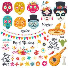 Set of elements for Day of the Dead, Dia de los Muertos