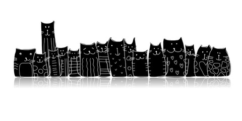Fotobehang - Black cats, sketch for your design