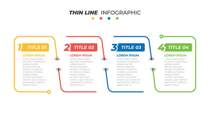 Business infographics. Thin line minimal design label with 4 options, steps or processes. Vector illustration.