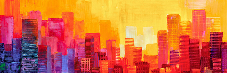 Fototapeten Rot Abstract painting of urban skyscrapers.