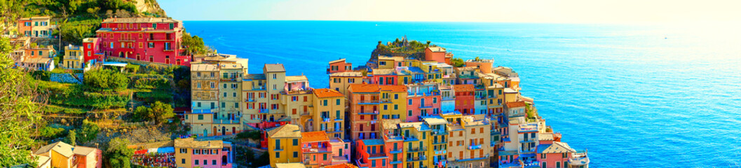 Colorful houses of Manarola, a beautiful village in