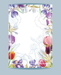 Gift voucher template with Irises