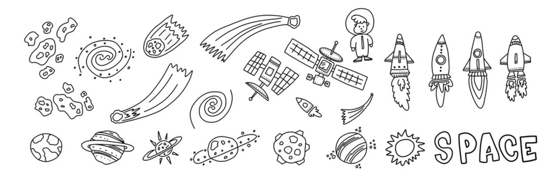 Informational flyer hand drawn set space objects.