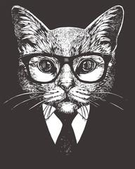 Portrait of Cat in suit. Hand-drawn illustration. Vector