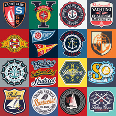 Sailing and yachting badges and symbols vector collection for nautical  print or embroidery