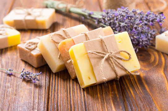 Handmade natural soap with lavander