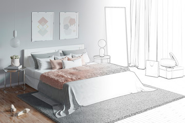 3d illustration. Sketch of charming women's bedroom with paintings becomes a real interior