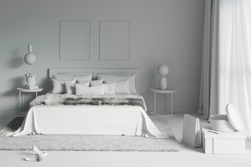 3d illustration. Charming bedroom in the white computer staff. Front view