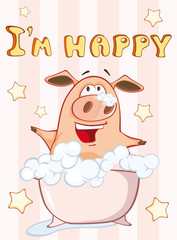 In de dag Babykamer Happy Birthday Card Little Pig. Vector Greeting Card. Happy Moment. Congratulation