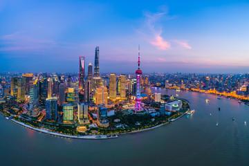 Aluminium Prints Shanghai Aerial panoramic view of Shanghai skyline at night,China.