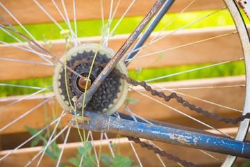 Rusty old broken bike dumped outdoor