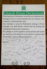 A picture of the Church House Declaration signed by the MPs attending an event about opposing the suspension of parliament to prevent no deal Brexit in London