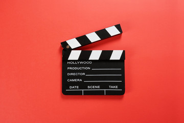 movie, cinema video concept. movie clapper board with copy space.