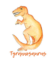 tyrannosaurus dinosaur watercolor illustration drawing