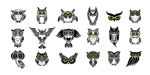 Poster Owls cartoon Cute owls collection, black silhouette for your design