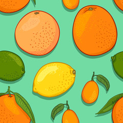 Vector Seamless Pattern of Citrus Fruits
