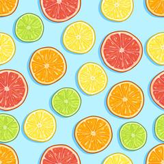 Vector Seamless Cartoon Pattern of Circle Sliced Citrus Fruits