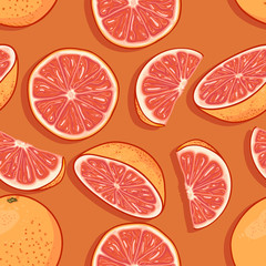 Vector Seamless Pattern of Cartoon Grapefruits