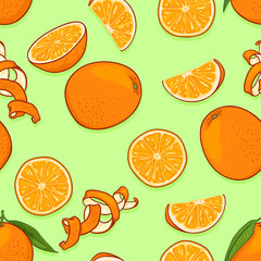 Vector Seamless Pattern of Cartoon Oranges
