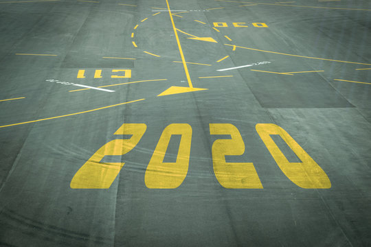 The 2020 number sign on the airport runway shows the coming New Year's reception soon.