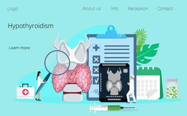 Hypothyroidism concept vector. Endocrinologists diagnose and treat human thyroid gland