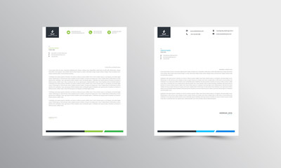 green and blue Abstract Letterhead Design Template - vector