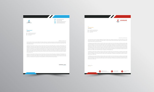 red and blue  Abstract Letterhead Design Template - vector