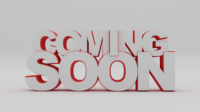 Coming soon message 3D rendering